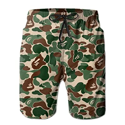 xj Men's Aniaml Camouflage Green Fashion Beach Pant Tide Stamp Shorts