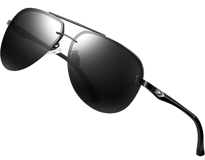 e3a18b2e4c9 ATTCL Men s Driving Polarized Sunglasses Superlight Al-Mg Metal Frame  A143-BLACK