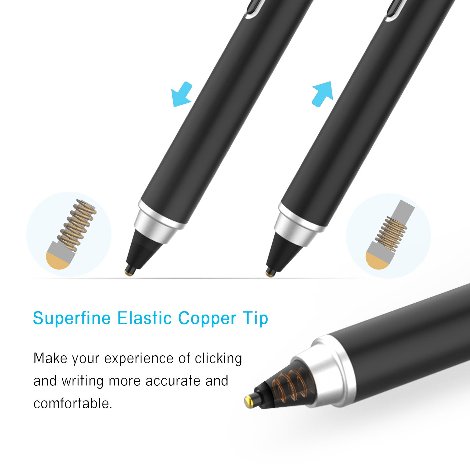 Active Stylus Pen, Ciscle Capacitive Digital Pen, 5 Mins Auto Power Off with High Precision Sensitivity 1.5mm Copper Tip, Fine Point Stylus for Touch Screen Devices, iPad/iPhone/Android Tablets-Black by Ciscle (Image #4)