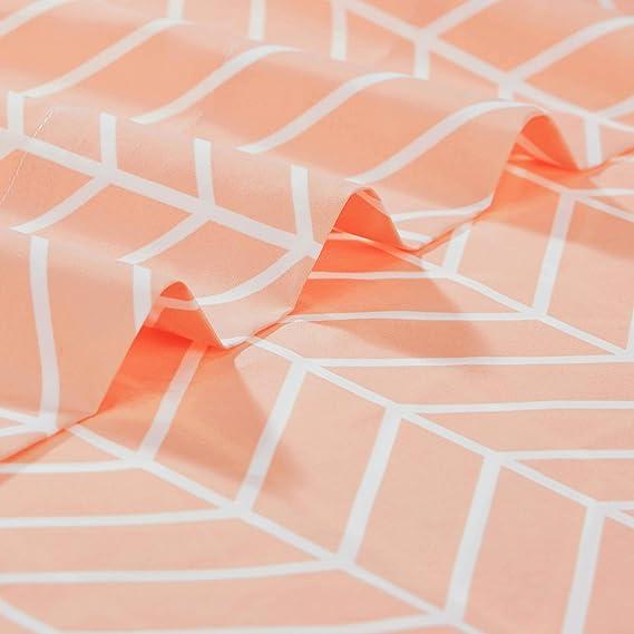 Basics Drap plat en microfibre de qualit/é sup/érieure Chevrons p/êche 230 x 260/cm Chevron Peach Blush