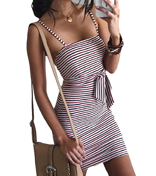 7f7c08339b76 Amazon.com  Mfasica Women Sexy Off-Shoulder Striped Open Back Strap Strappy  Cocktail Dress  Clothing