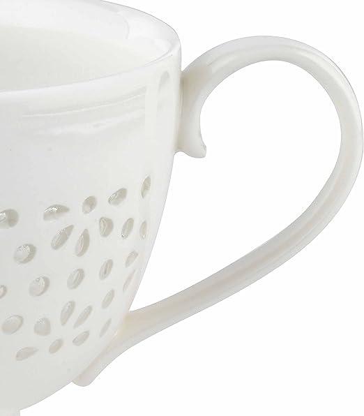 Cambridge CM05185 Charlotte Sandringham Lace-Tasse aus feinstem Porzellan mit Fu/ß wei/ß keramik 9 x 9 x 13 cm