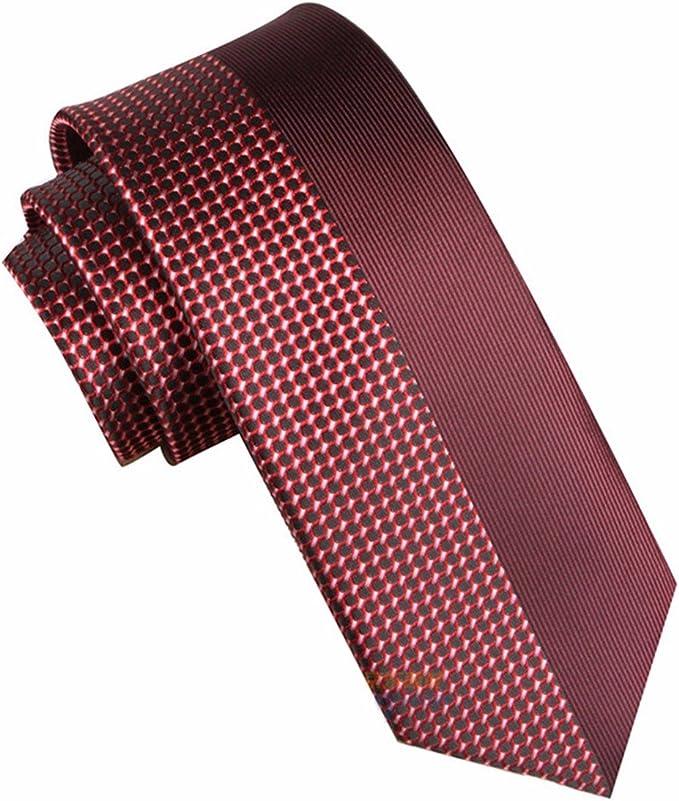 HXCMAN 7cm borgoña vino rojo Retazos Lunares corbata Diseño ...