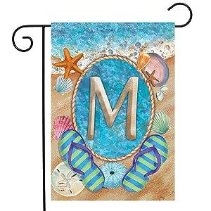 """Briarwood Lane Summer Monogram Letter M Garden Flag Flip Flops Seashells 12.5"""" x 18"""""""