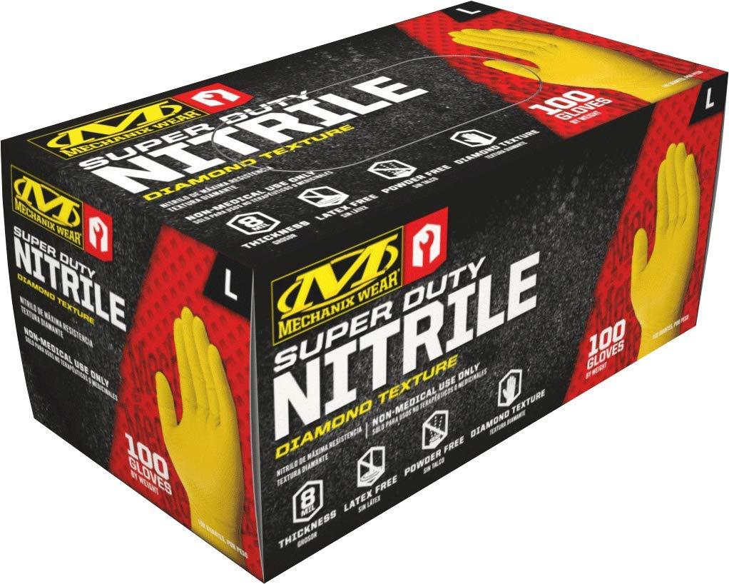 Mechanix Wear - Nitrile Disposable Gloves - Powder Free, Latex Free, Diamond Textured - 8 mil Yellow (Large, 100 Pack)