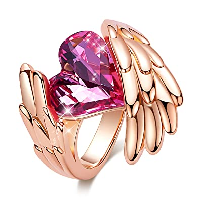 1d0ecd386 CDE ''Pink Angel Rose Gold Plated Wing Rings for Women Heart Shape  Embellished with