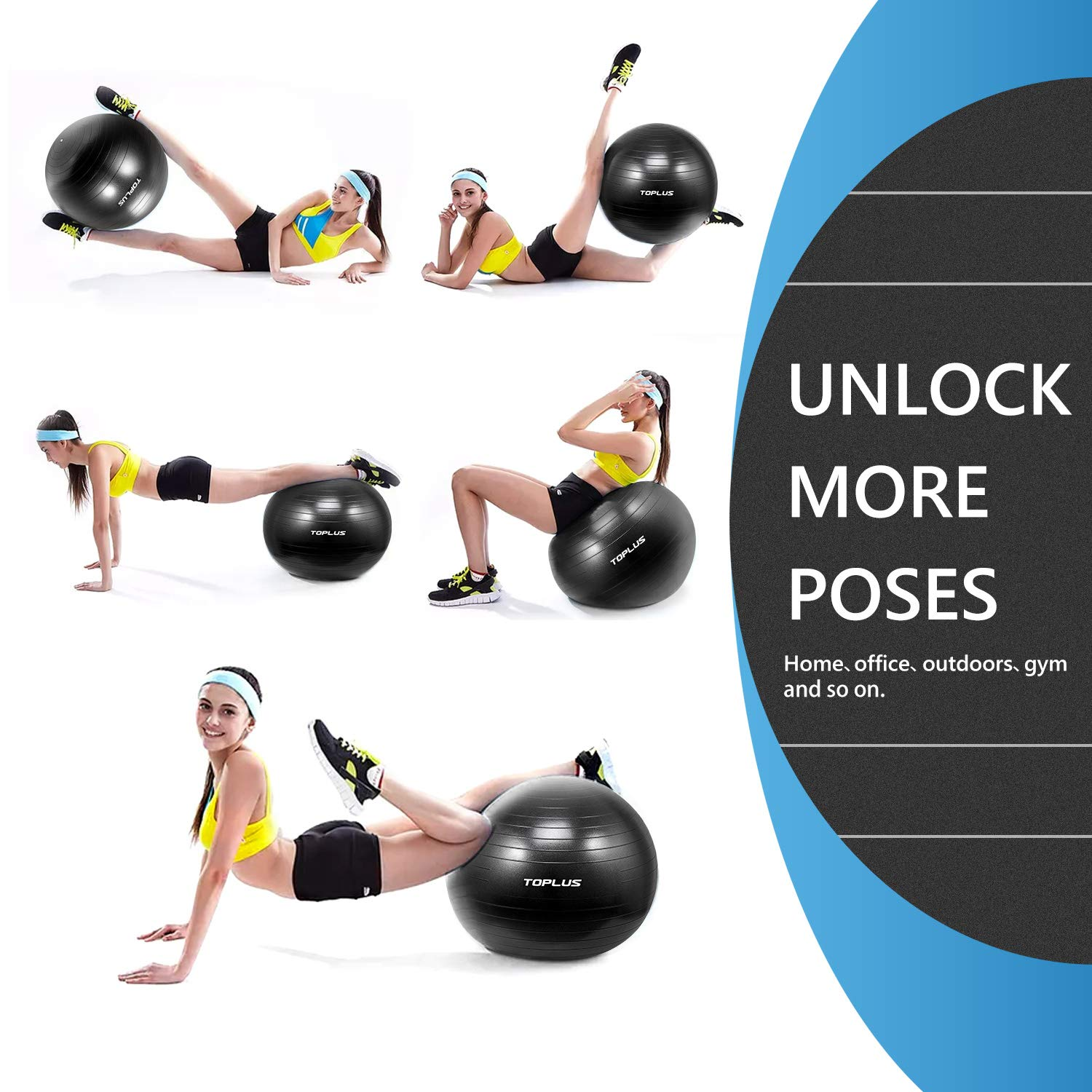 Exercise Ball (Multiple Sizes) Thick Yoga Ball Chair for Fitness