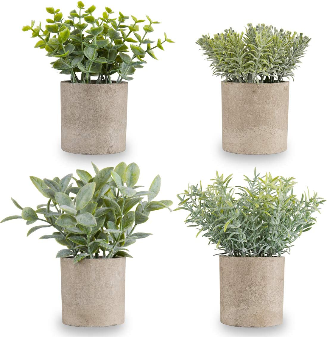 Miracliy Mini Potted Fake Plants Faux Artificial Eucalyptus Boxwood Rosemary Greenery in Gray Pots for Home Office Desk Bathroom Decoration Garden Decor, Indoor & Outdoor,Set of 4