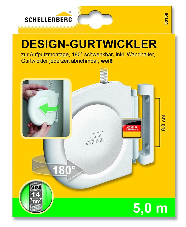 Schellenberg 50150 Aufschraubwickler Design Mini wei/ß Gurtwickler f/ür die Aufputz-Montage