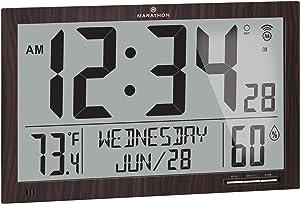 Marathon Slim Jumbo Auto-Set Atomic Full Calendar Digital Wall Clock with Temperature, Humidity, 7 Time Zone, Auto DST, Self Setting, Self Adjusting, Batteries Included (Wood Tone)