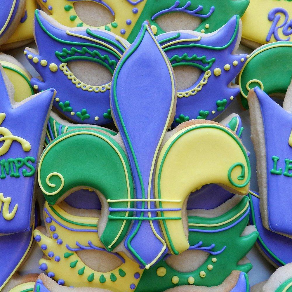 Mardi Gras / New Orleans Cookie Cutter Set - 4 piece - King Crown, Princess Crown, Mask and Fleur de Lis - Ann Clark - Tin Plated Steel by Ann Clark Cookie Cutters (Image #4)