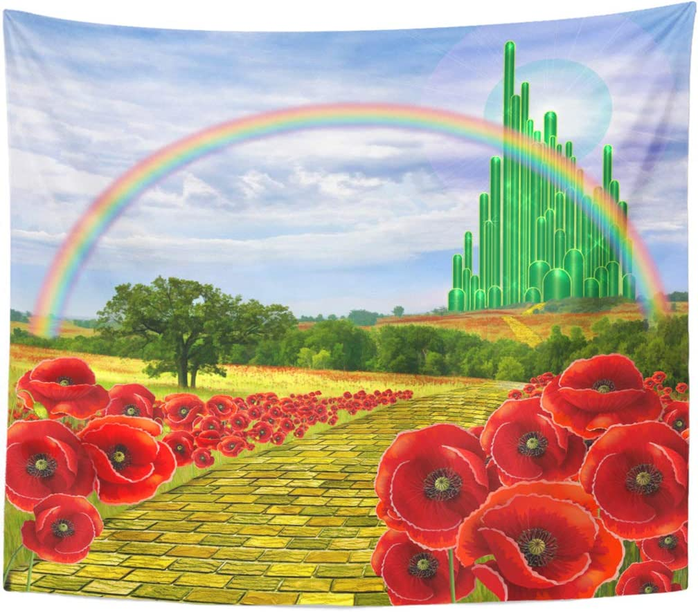 Emvency Tapestry Poppies Field Yellow Brick Road Leading to the Oz Emerald City Flowers Follow Home Decor Wall Hanging for Living Room Bedroom Dorm 50x60 Inches