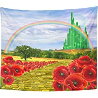 Emvency Tapestry Poppies Field Yellow Brick Road Leading to The Oz Emerald City Flowers Follow Home Decor Wall Hanging…