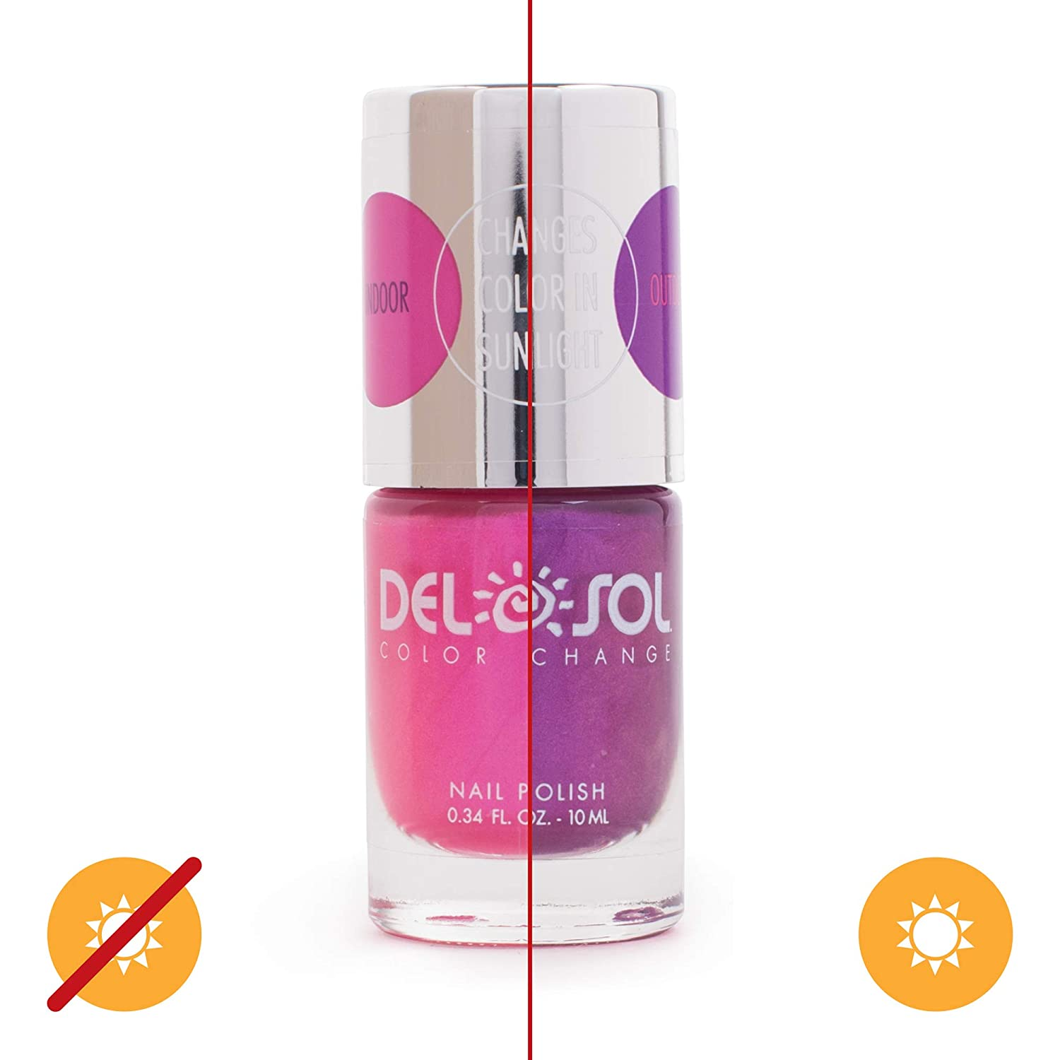 Del Sol Color-Changing Nail Polish - Foxy - Changes Color from Pink to Royal Purple in the Sun - Quick dry, 5-Free Nail Lacquer - .34 fl oz/ 10mL