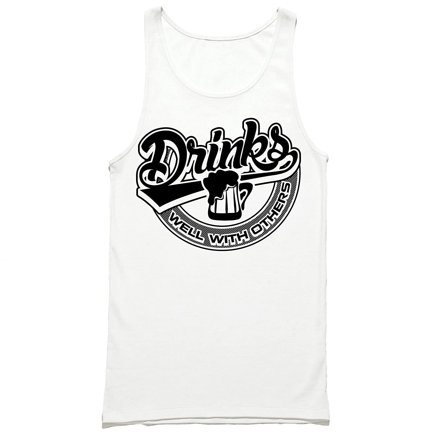 2e4abaa4d657d7 Amazon.com  Drinks Well with Others Tank Top - Funny Drinking Shirt - Party Tank  Top  Clothing