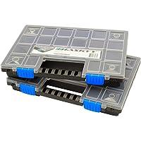 2x XL Caja organizadora con compartimentos de 345x249x50mm I Compartimiento de piezas pequeñas I Caja de tornillos I…