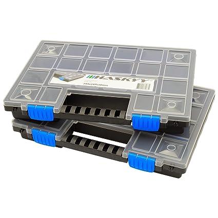 2x XL Caja organizadora con compartimentos de 345x249x50mm I Compartimiento de piezas pequeñas I Caja de