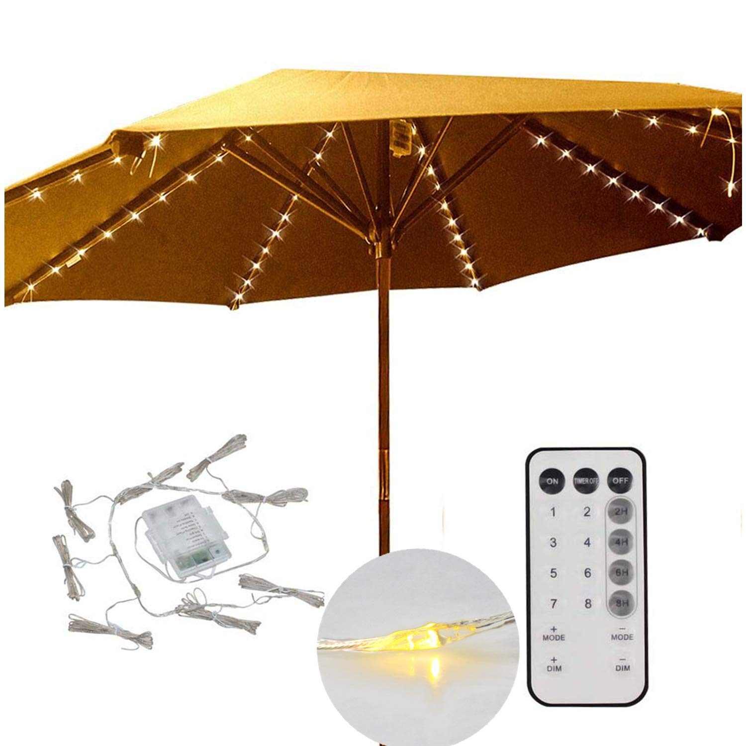 Decorative String Lights for Patio Cantilever Umbrella,8-Ribs 104 LED,Battery Powered,Remote Control,Timer,Dimmable,8 Mode,Easy to Install,Hanging Umbrellas Lights - Warm White