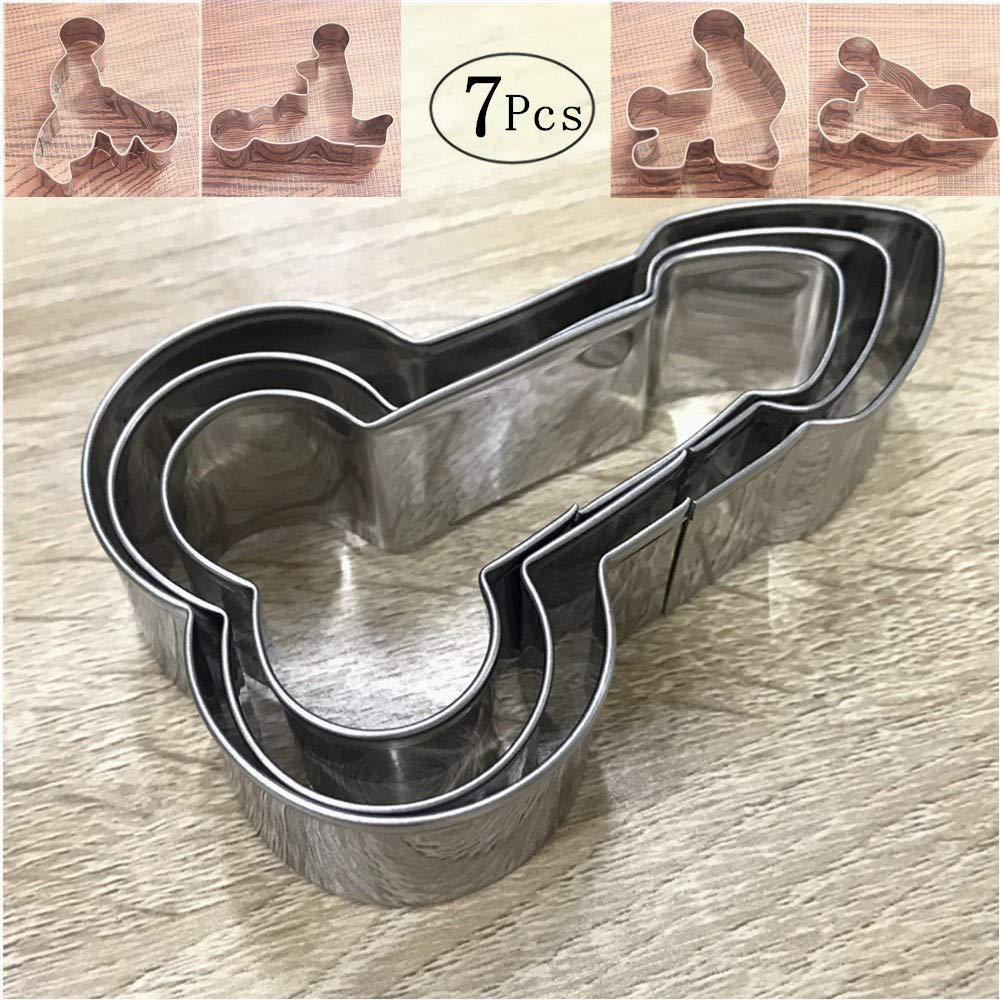 Fun Shaped Cookie Cutter,Stainless Steel Naughty Bachelorette Party Gag Gift Supply for Hen Party Naughty Party,Girls Night Out,Wedding or Bridal Showers(7 Pcs)