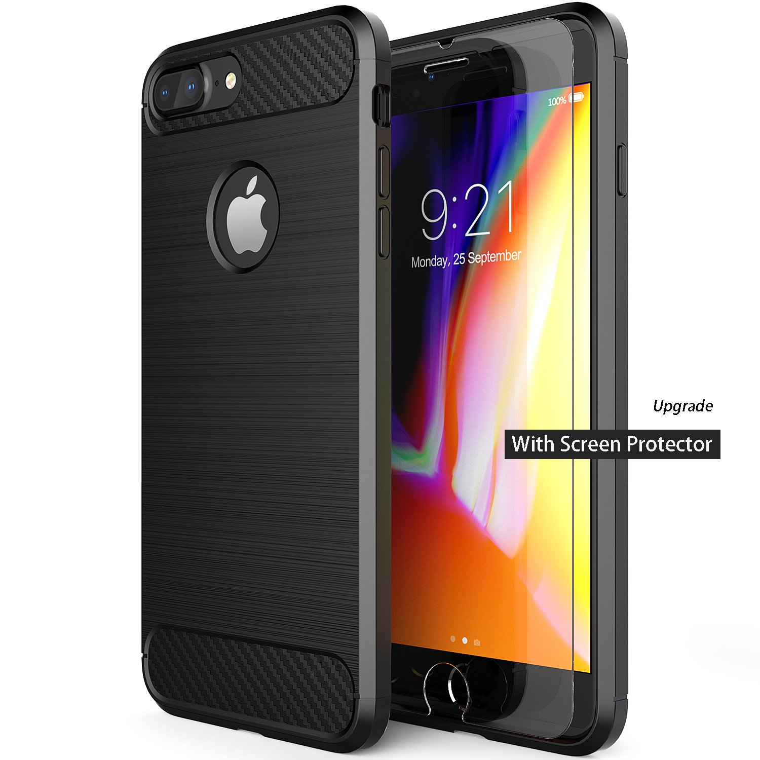 LESEEING iPhone 7 Plus Case iPhone 8 Plus Case, Case for Apple 8 Plus and iPhone 7 Plus Cover Soft TPU Material with Carbon Fiber iPhone 7 Plus Protective Case - Black