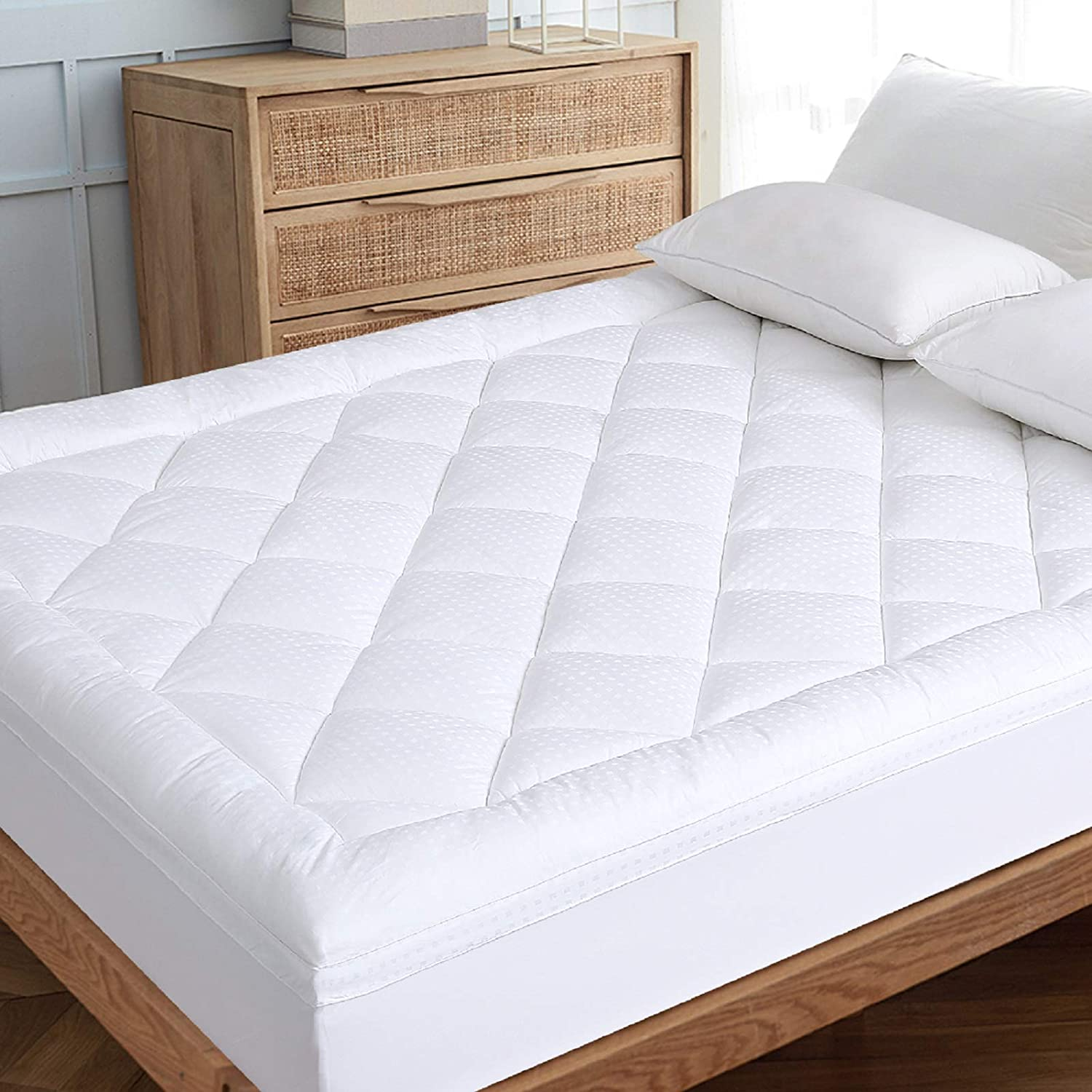 """EDILLY Queen Extra Thick Mattress Pad Cooling Mattress Topper Cover Cotton Top Pillow Top with Hypoallergenic Down Alternative Fill(8-21"""" Fitted Deep Pocket Queen Size)"""