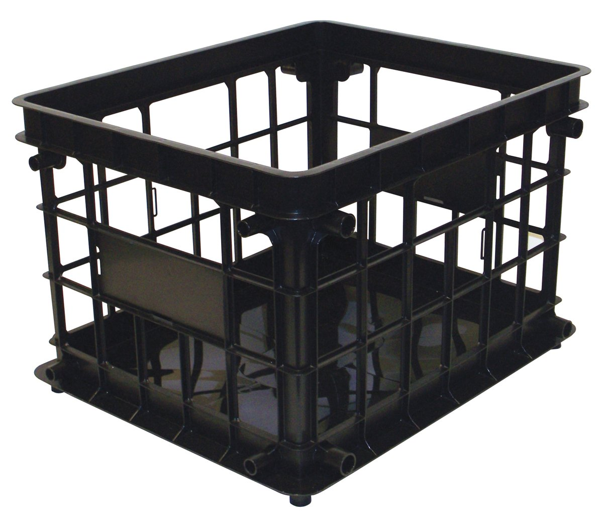United Solutions-Organize Your Home CR0093 Black Plastic Inter-Locking Modular Crate -Plastic Modular Crate in Black Snaps Together for Space Saving Storage/Organization in Home, Office or Dorm Room