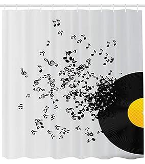017fd66f ABAKUHAUS Música Cortina de Baño, Diseño Abstracto Notas Musicales Flotando  Disco Álbum Baile Club Estampa, Estampa…