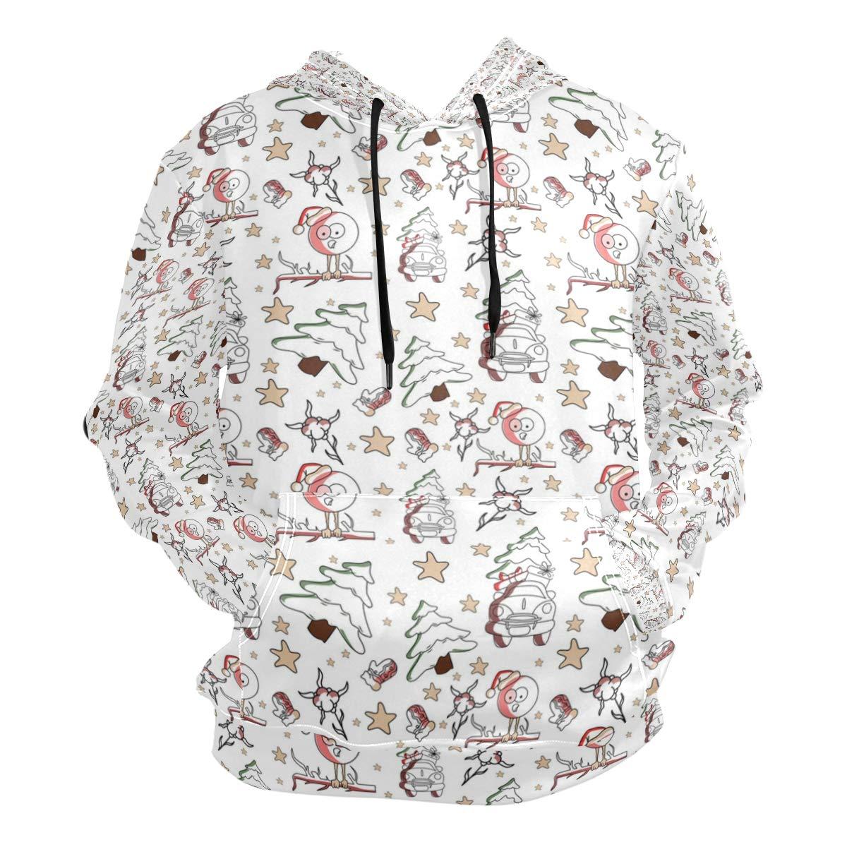 Jeffre Simp Mens Hooded Sweatshirt Santa Christmas Tree Pullover Fashion Hoodie Sweater