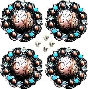 Concho Set of 4 Conchos Western Saddle Tack  Turquoise Stone 401546