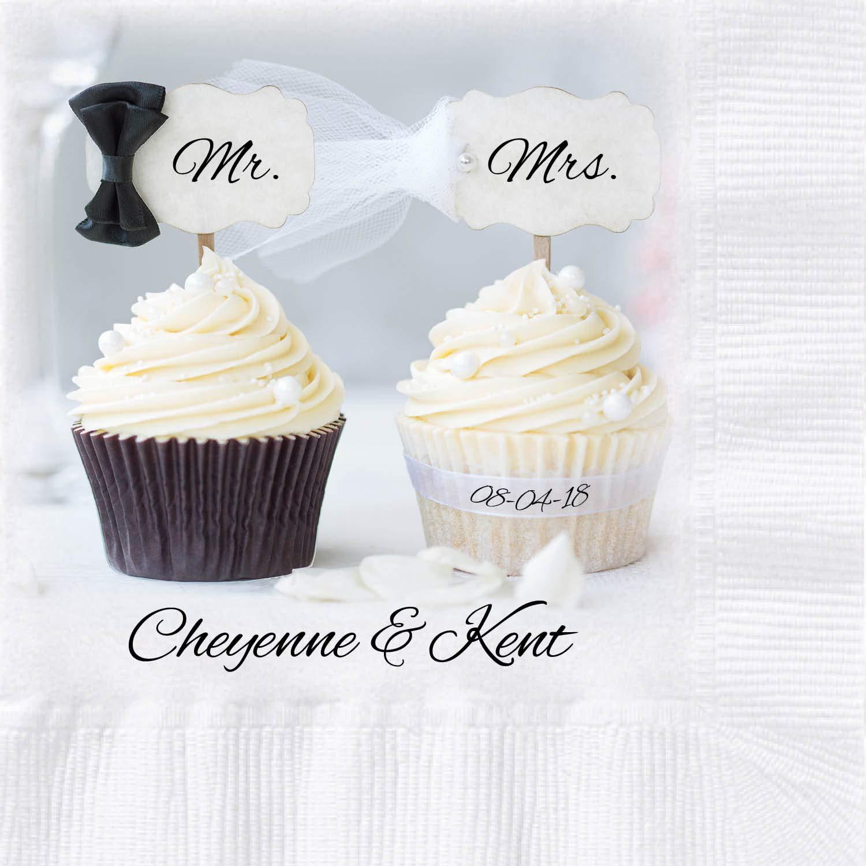 Mr & Mrs Cupcake Custom Printed Wedding Napkins, 250 ct