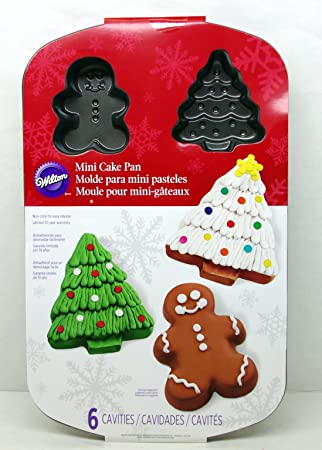 Wilton Mini Christmas Cake Pan – Gingerbread Man Christmas Tree – 6 Molds Non-stick
