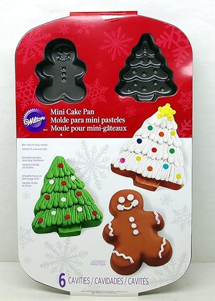 Wilton Christmas Mini Cake Pan 6 Cavities Christmas Tree Gingerman  Non Stick
