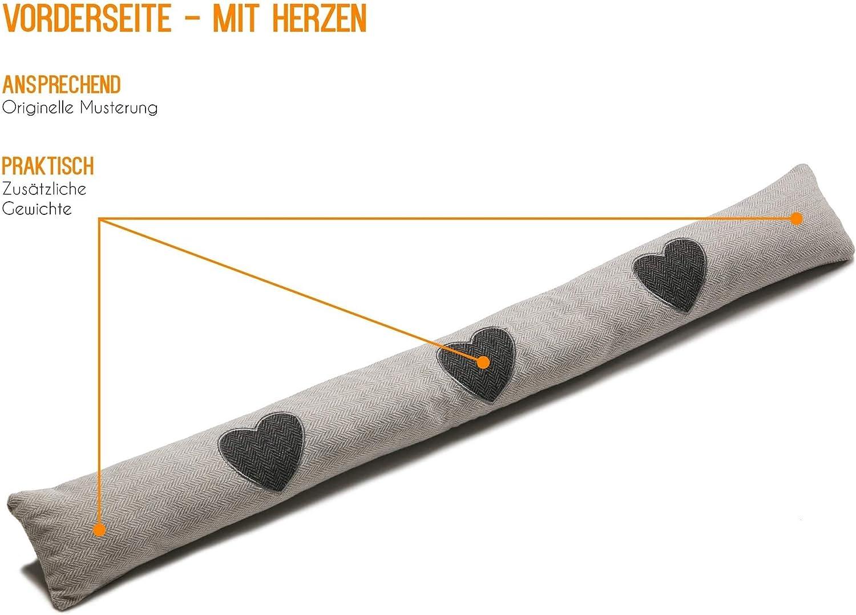 Muster 100cm Zugluftstopper Türstopper Windstopper Grau m