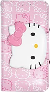 WiLLBee Compatible with iPhone 12 Pro Case/Compatible with iPhone 12 Case (6.1inch) Hello Kitty Cute Diary Wallet Flip Cover - Button Face Baby Pink