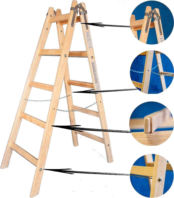 Escalera de madera de dos caras – Escalera 2 x 5 Premium 5 niveles pintor Escalera presupuesto Escalera: Amazon.es: Bricolaje y herramientas