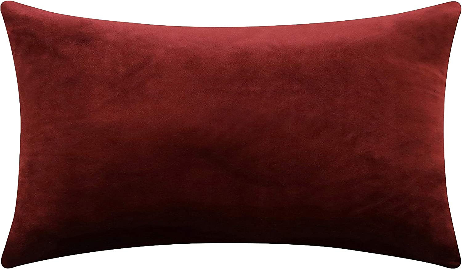 Home Brilliant Outdoor Lumbar Solid Throw Pillow Cover Decorative Cushion Cover for Patio Couch Neck Pain, 12 x 20 Inches (30x50cm), Brick Red