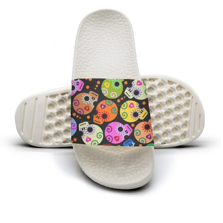 Mens Day Of The Dead Colors Skull Non-Slip Soft Foams Slipper Home Slide Sandals