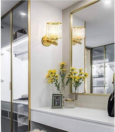 LMDH Luces de tocador de Cristal, lámpara de Pared Moderna de Bronce empotrada con Aceite de Aplique de Pared en Polvo con Prisma de Cristal Pasillo de Vidrio Iluminación de Montaje en
