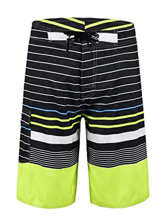 34968d923f Unitop Men's Board Shorts Summer Quick Dry Stripped Sports Swimwear Black  and Green-27 28