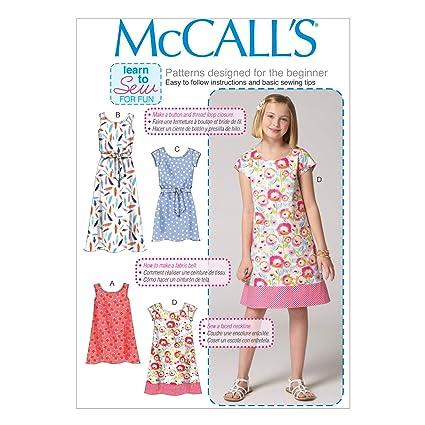 f9651ad8f Amazon.com: McCall's M7111-CHJ Children's/Girls' Dresses and  Belt-7-8-10-12-14 Size CHJ (7-8-10-12-14)