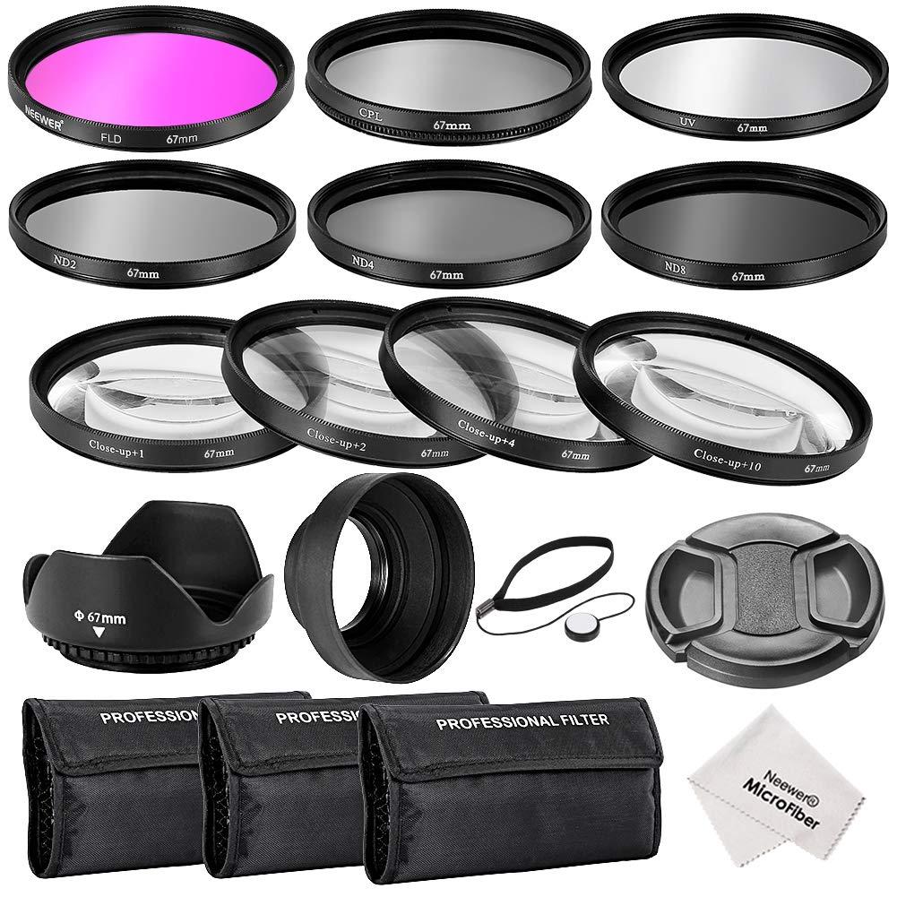Kit de accesorios de filtro de lente completo Neewer® , UV, CPL, FLD + filtros de primer plano macro (+1, +2, +4, +10) + filtros de densidad neutra ND2, ND4, ND8 + parasol de objetivo + tapa de objetivo + bolsa de transporte 10084588