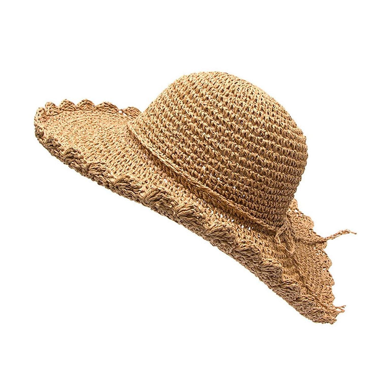 Mlotus Women's Bowknot Sun Visor Wide Large Brim Floppy Fold Swimming Beach Straw Hat Cap Khaki