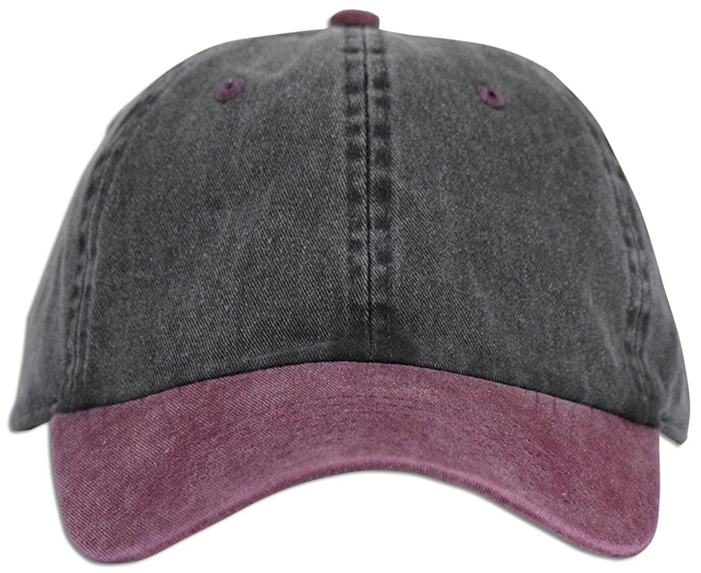 4aabfc1ad9eeb JLGUSA Dad Hat Pigment Dyed Two Tone Plain Cotton Polo Style Retro Curved Baseball  Cap (Black Burgundy) at Amazon Women s Clothing store