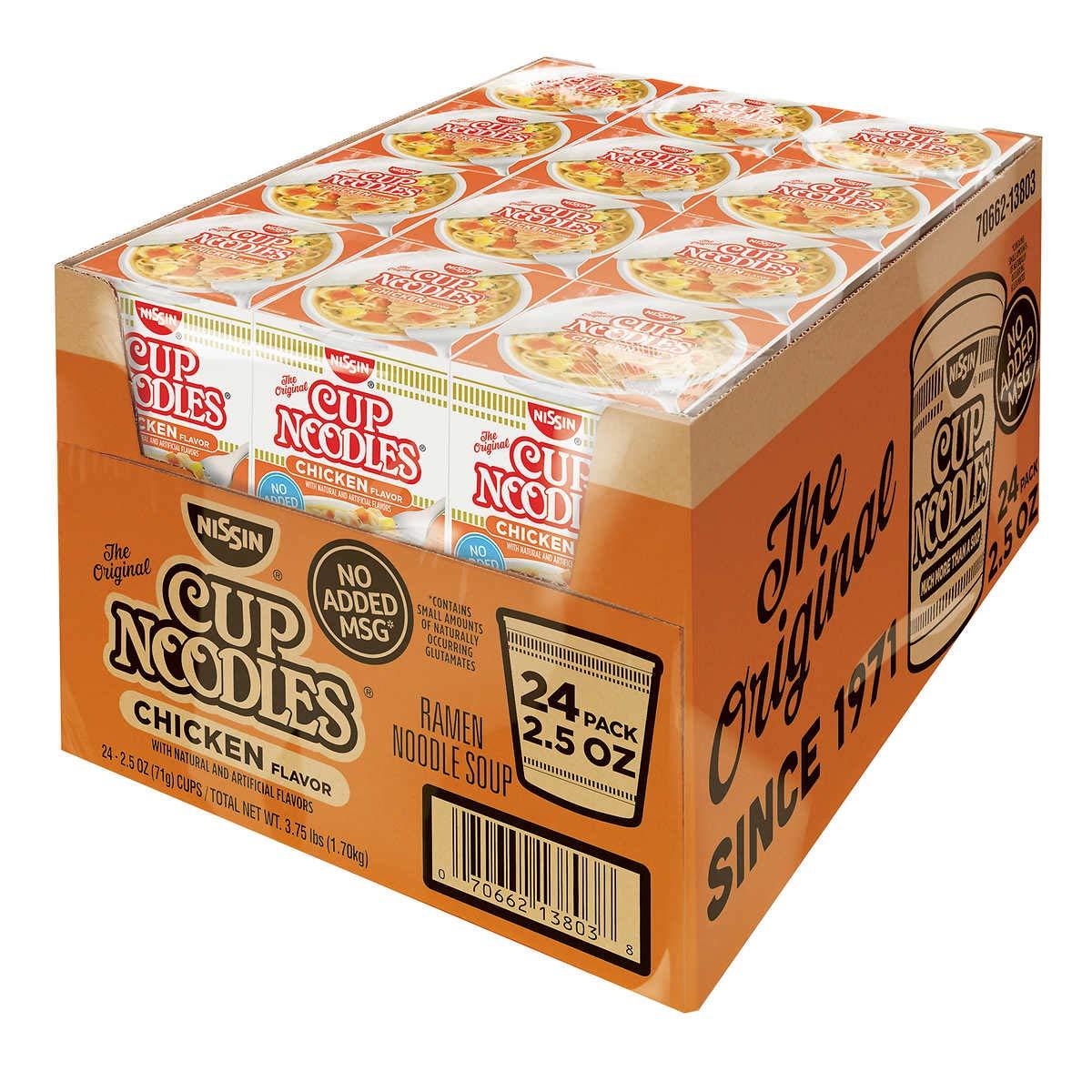 Nissin Cup Noodles Ramen Noodle Soup, Chicken Flavor 2.25 Ounce (Pack of 24)