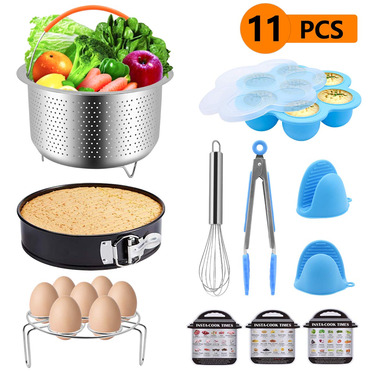 SKEY Instant Pot Accessories Set,Suitable for 5,6,8 QT Pressure Cooker,Steamer Basket,Springform Pan,Egg Bites Mold,Egg Rack,Egg Whisk, 3 Cooking time Magnets,Kitchen Tongs,Oven Mitts,11 pcs