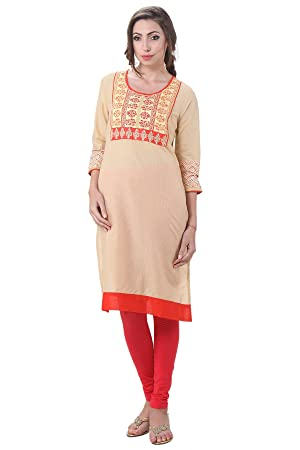 In-Sattva Women's Indian Abstract Block Print Kurta Tunic; Beige; Medium