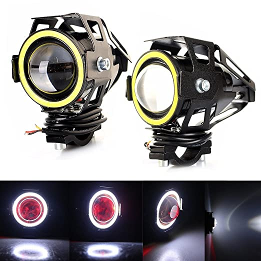 5 opinioni per RAXFLY 2x Fanale Faro Moto U7 LED Faretto Anteriore 10W Headlight Angel Eyes