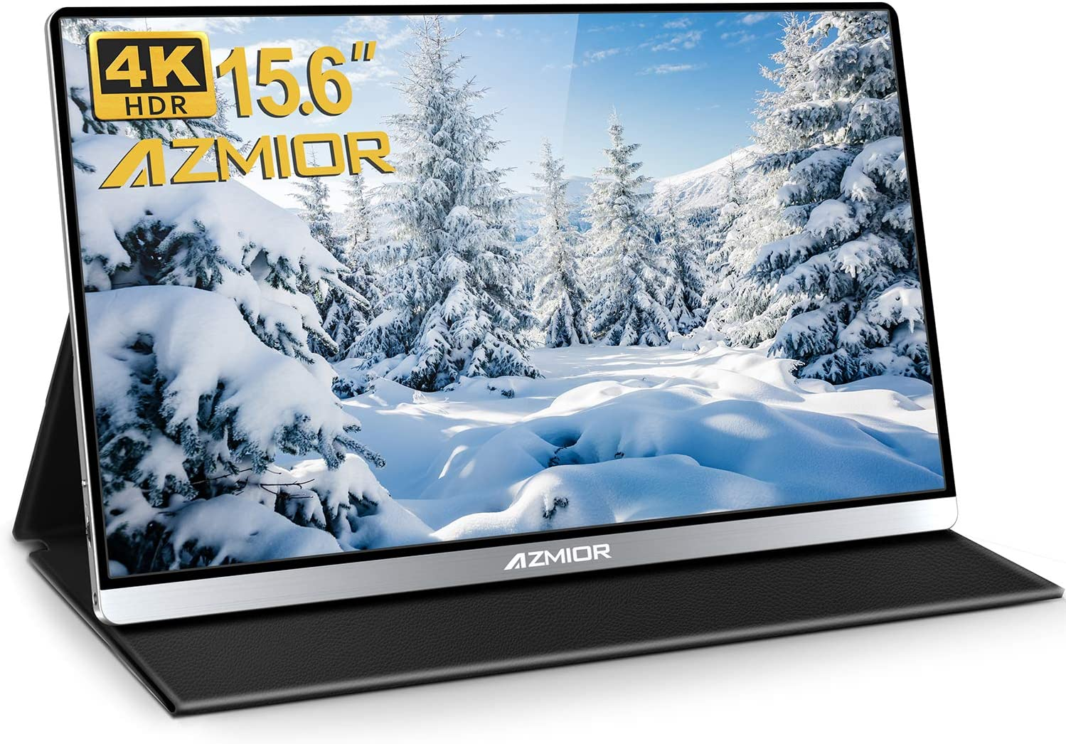 4K Portable Monitor - AZMIOR 15.6 Inch UHD 3840x2160 IPS 100% sRGB 60Hz, HDR Freesync Gaming Computer Display with Dual USB C Mini HDMI for Laptop, PC, MAC, Surface, Phone, PS3, PS4, Xbox, Switch
