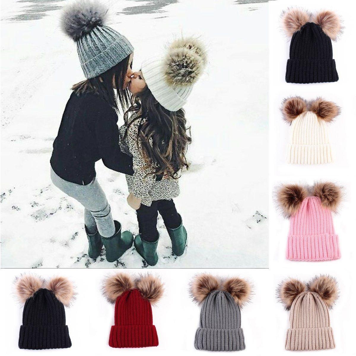 I LOVE DIY Bonnet Pompon Bebe Garcon Fille Chapeaux Tricoté Enfant Hiver  Mignons avec 2 Pompon 2f1d44debf0