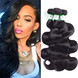 Shine Star Hair Brazilian Virgin Hair Body Wave 3 Bundles Full Head Set 100% Unprocessed Human Hair 3 Bundles Natural Color (18 20 22 24, 1b#)